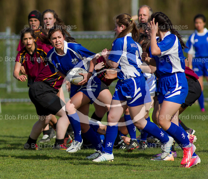 April 14, 2014:  McMath Senior Girls rugby vs Burnaby North.  Final score: McMath 19 - Burnaby North 14  ****(Photo by Bob Frid 2014) All Rights Reserved : cell 778-834-2455 : email: bob.frid@shaw.ca Web: bob-frid-images.photoshelter.com ****