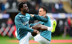 Wilfried Bony of Swansea City warms up prior to kick off. - Mandatory by-line: Alex James/JMP - 10/09/2017 - FOOTBALL - Liberty Stadium - Swansea, England - Swansea City v Newcastle United - Premier League