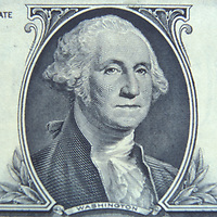 Detail of George Washington's portrait on the U.S. $1.00 bill.