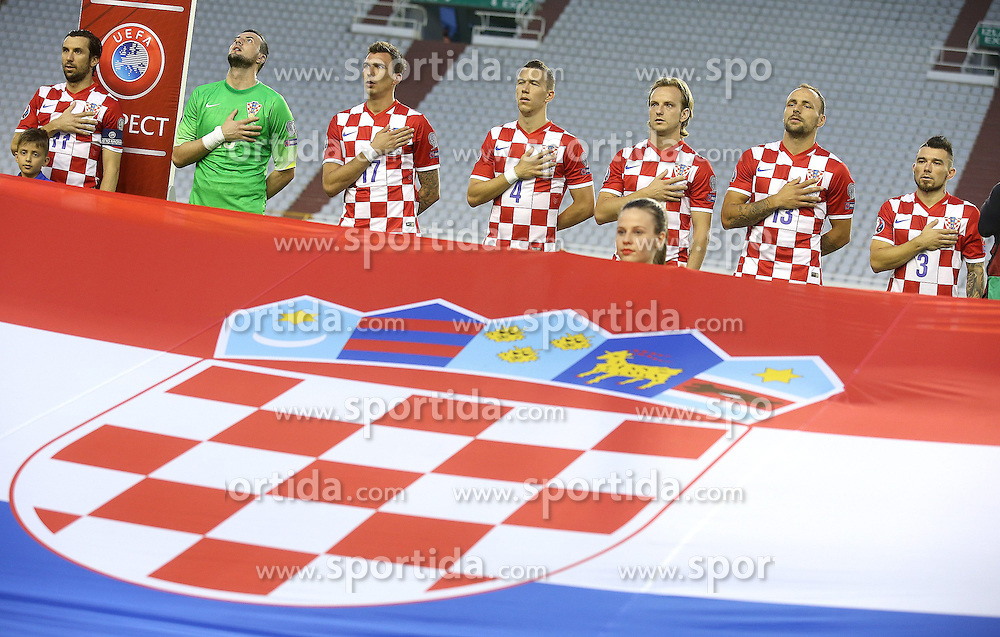12.06.2015, Stadion Poljud, Split, CRO, UEFA Euro 2016 Qualifikation, Kroatien vs Italien, Gruppe H, im Bild Darijo Srna, Danijel Subasic, Mario Mandzukic, Ivan Perisic, Ivan Rakitic, Gordon Schildenfeld, Danijel Pranjic // during the UEFA EURO 2016 qualifier group H match between Croatia and and Italy at the Stadion Poljud in Split, Croatia on 2015/06/12. EXPA Pictures &copy; 2015, PhotoCredit: EXPA/ Pixsell/ Igor Kralj<br /> <br /> *****ATTENTION - for AUT, SLO, SUI, SWE, ITA, FRA only*****