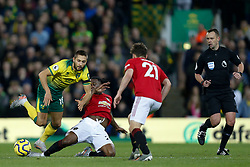 Aaron Wan-Bissaka of Manchester United Moritz Leitner of Norwich City battles for possession- Mandatory by-line: Phil Chaplin/JMP - 27/10/2019 - FOOTBALL - Carrow Road - Norwich, England - Norwich City v Manchester United - Premier League