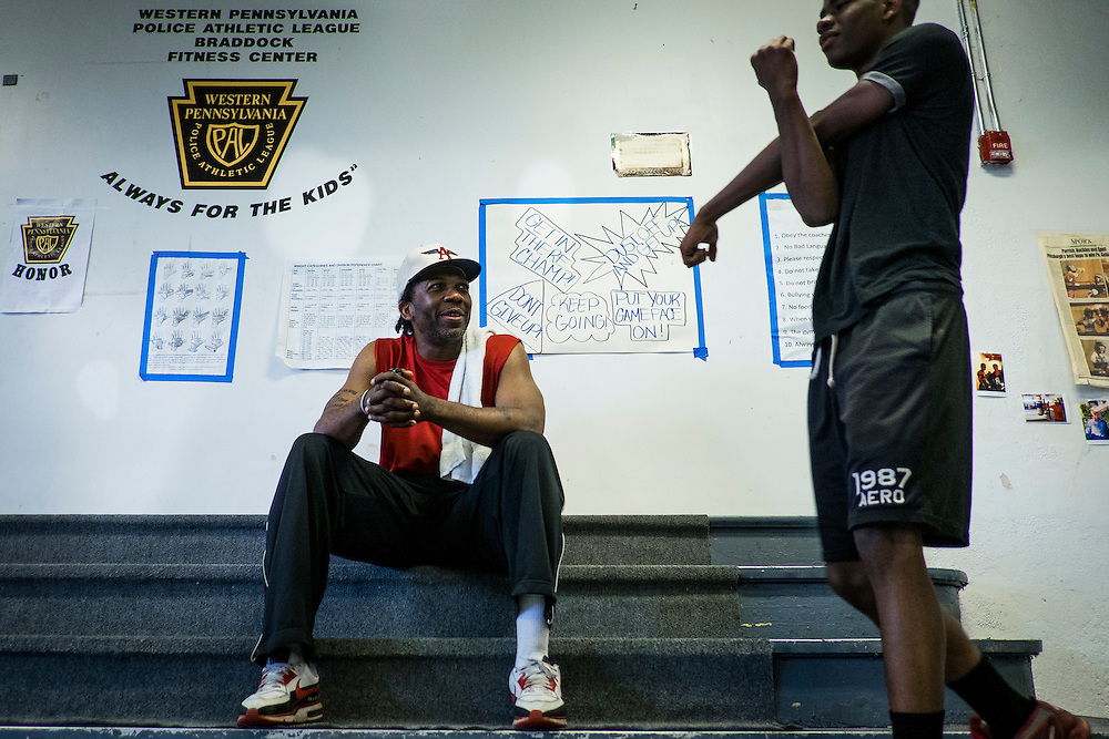 The Western Pennsylvania branch of the Police Athletic League runs a boxing program in the basement of the Braddock Community Center, which used to be a church.<br />