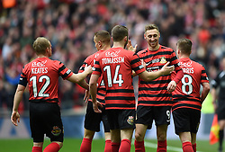 Wrexham's Louis Moult celebrates his goal with team mates - Photo mandatory by-line: Paul Knight/JMP - Mobile: 07966 386802 - 29/03/2015 - SPORT - Football - London - Wembley Stadium - North Ferriby United v Wrexham - FA Trophy