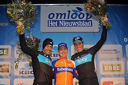 "26.02.2011, Flandern, BEL, Omloop, Radsport Frühjahrsklassikers, im Bild  podium of THE 66e FLANDERS CLASSICS CYLING RACE "" OMLOOP HET NIEUWSBLAD "" (l-r) second antonio flecha team sky , winner sebastian langeveld team rabobank and third mathew hayman team sky. Saterday Feb. 26,  2011. ( EXPA Pictures © 2011, PhotoCredit: EXPA/ nph/   / Laurent Dubrule )       ****** out of GER / SWE / CRO  / BEL ******"