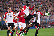 July 15 2017: Western Sydney Wanderers Abraham MAJOK (49) gets the ball away at the International soccer match between English Premier League giants Arsenal and A-League team Western Sydney Wanderers at ANZ Stadium in Sydney.