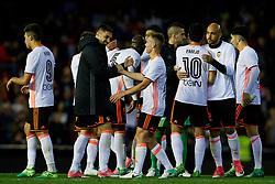 April 6, 2017 - Valencia, Valencia, Spain - Valencia CF players celebrate the victory during the La Liga match between Valencia CF and Real Club Celta de Vigo at Mestalla Stadium on April 6, 2017 in Valencia, Spain. (Credit Image: © David Aliaga/NurPhoto via ZUMA Press)