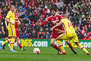Diego Fabbrini (Middlesbrough FC) takes on Samir Carruthers (Milton Keynes Dons) during the Sky Bet Championship match between Middlesbrough and Milton Keynes Dons at the Riverside Stadium, Middlesbrough, England on 12 September 2015. Photo by George Ledger.
