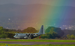 A rainbow welcomed a US Navy KC130J that arrived at Glasgow international earlier this morning<br /> <br /> (c) Stephen Smyth | Edinburgh Elite media