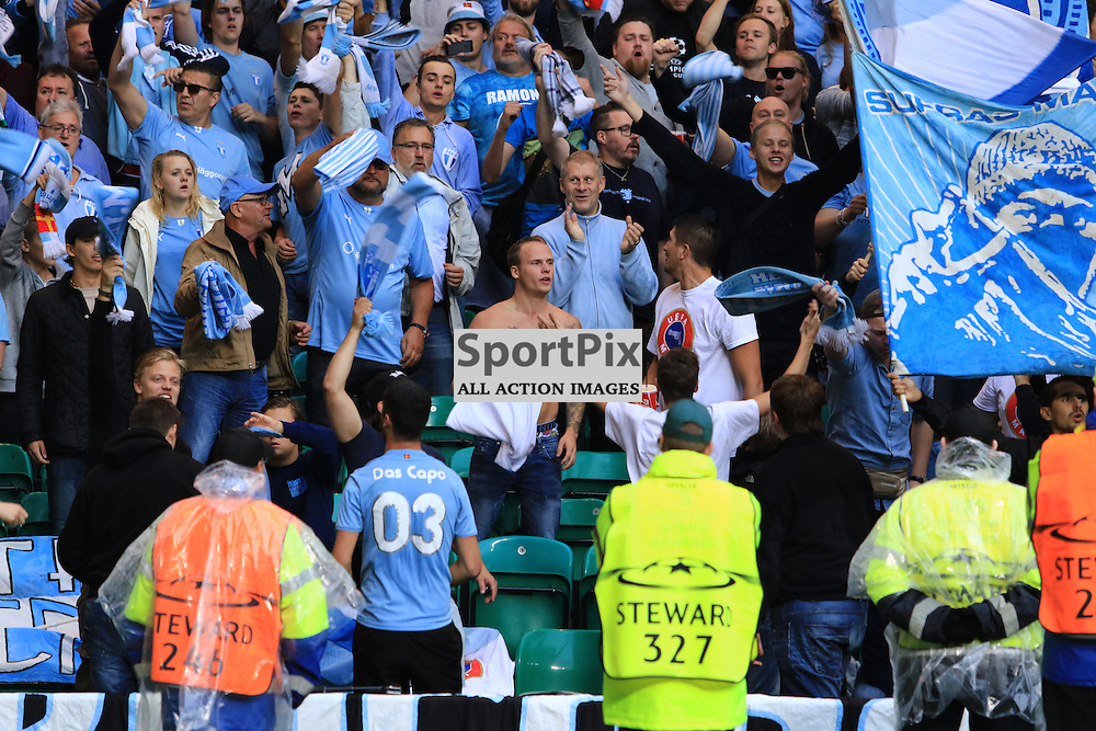 Malmö FF  fans celebrate during the Glasgow Celtic FC v Malmö FF Champions League Play-Off  19th August 2015 ©Edward Linton   SportPix.org.uk