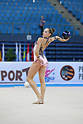 Halkina Katsiaryna during final at ball in Pesaro World Cup 28 April 2013. Katsiaryna is a Belarusian rhythmic gymnastics athlete born February 25, 1997 in Minks, Belarus.