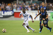 Philadelphia Union midfielder Ilsinho (25) dribbles away from San Jose Earthquakes midfielder Judson (93) during an MLS soccer match won by Philadelphia 2-1, Wednesday, Sept. 25, 2019, in San Jose, Calif. (Peter Klein/Image of Sport)