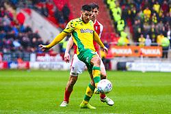 Emi Buendia of Norwich City controls the ball under pressure from Billy Jones of Rotherham United - Mandatory by-line: Ryan Crockett/JMP - 16/03/2019 - FOOTBALL - Aesseal New York Stadium - Rotherham, England - Rotherham United v Norwich City - Sky Bet Championship
