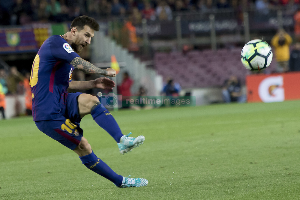 September 9, 2017 - Barcelona, Catalonia, Spain - Leo Messi during the spanish league match between the FC Barcelona and the RCD Espanyol in the Camp Nou Stadium in Barcelona, Spain on September 9, 2017  (Credit Image: © Miquel Llop/NurPhoto via ZUMA Press)