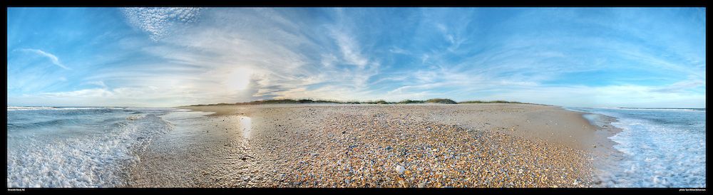 Panoramic scene on beach in Ocracoke Island, NC. Print Size (in inches): 15x4; 24x6.5; 36x10; 48x13; 60x16.5; 72x20
