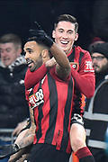 Goal - Callum Wilson (13) of AFC Bournemouth celebrates scores a goal to give a 3-0 lead with Harry Wilson (22) of AFC Bournemouth during the Premier League match between Bournemouth and Brighton and Hove Albion at the Vitality Stadium, Bournemouth, England on 21 January 2020.