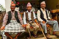 Men in a small village above the Pokhara Valley, Nepal.