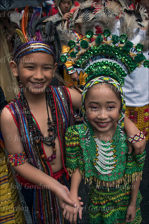 Ethnic Pride for Filipinos in the Philippine Day Day Parade. They are wearing Carnival regalia and headdress.