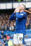 Everton striker Wayne Rooney (10) celebrates his goal 1-0 during the Premier League match between Everton and Arsenal at Goodison Park, Liverpool, England on 22 October 2017. Photo by Craig Galloway.