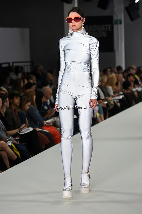 Designer Anna Fuller showcases lastest collection of Bath Spa University at the Graduate Fashion Week 2018, 4 June 4 2018 at Truman Brewery, London, UK.