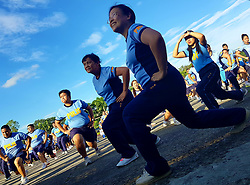 June 13, 2017 - Quezon City, Philippines - PNP members on exercise gestures. The members of Philippine National Police Camp Crame base personnel participated during the nationwide launching of Mission Slim Possible Challenge. (Credit Image: © Herman Lumanog/Pacific Press via ZUMA Wire)