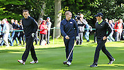 Phil Neville, Paul Scholes AND Northern Ireland's Rory McIlroy at the BMW PGA Championship Celebrity Pro-Am Challenge at the Wentworth Club, Virginia Water, United Kingdom on 20 May 2015