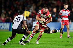Gloucester Flanker (#7) Matt Cox is tackled during the second half of the match - Photo mandatory by-line: Rogan Thomson/JMP - Tel: Mobile: 07966 386802 13/11/2012 - SPORT - RUGBY - Kingsholm Stadium - Gloucester. Gloucester Rugby v Fiji - International Friendly