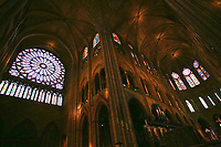 Notre Dame de Paris carhedral interior naverose window