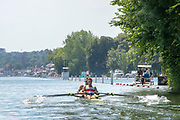 """Henley on Thames, United Kingdom, 8th July 2018, Sunday,  """"Henley Royal Regatta"""",  Double Sculls Challenge Cup , Finalists, Bow Gary O'DONOVAN, Stroke Paul O'DONOVAN, IRL M2X, Skibbereen Rowing Club, approaching the end of the Island,  View, Henley Reach, River Thames, Thames Valley, England, UK."""