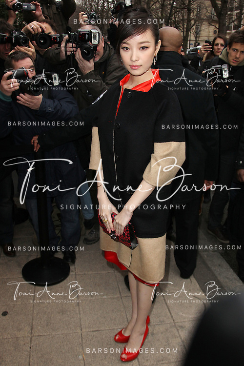 PARIS, FRANCE - JANUARY 23:  Ni Ni arrives at the Dior Haute-Couture 2012 show as part of Paris Fashion Week at Salons Christian Dior on January 23, 2012 in Paris, France.  (Photo by Tony Barson/WireImage)