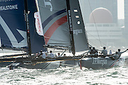 JP Morgan, Ben Ainslie Racing, Race day two of the Land Rover Extreme Sailing Series regatta in Qingdao, China. 2/5/2014