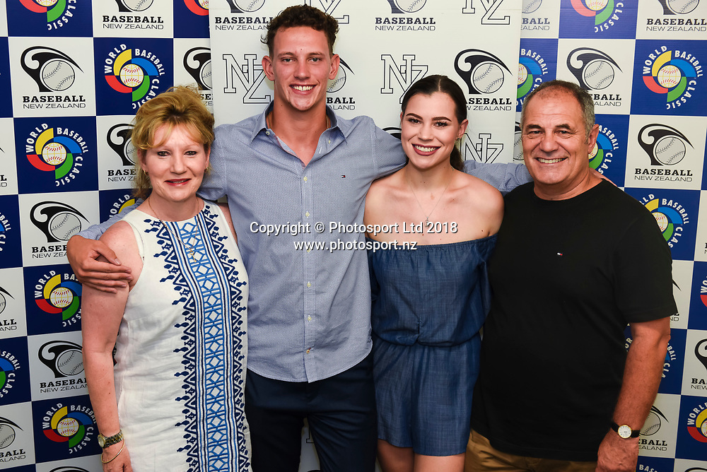 Kyle Glogoski with mother Sharon Glogoski,sister Brooke Glogoski and father Gary Glogoski.<br /> Kyle Glogoski at the Philadelphia Phillies signing ceremony held at Lloyd Elsmore Park, Pakuranga, Auckland, New Zealand. 4 January 2018. &copy; Copyright Image: Marc Shannon / www.photosport.nz.