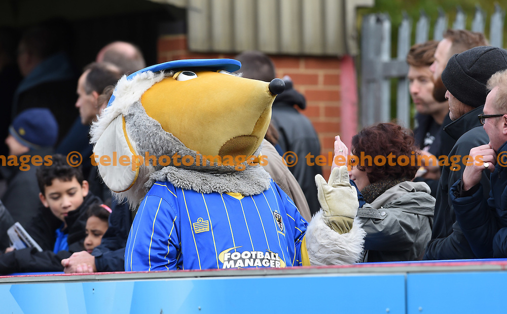 The Wombles of Wimbledon don't have a good day during the Sky Bet League 2 match between AFC Wimbledon and Morecambe at the Cherry Red Records Stadium in Kingston. October 17, 2015.<br /> Simon  Dack / Telephoto Images<br /> +44 7967 642437