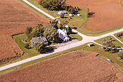 Aerial photograph of St. John Lutheran Church and  farmland in Mills County, Iowa, USA.
