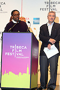 l to r: Spike Lee and Robert De Niro at The 2009 Tribeca Film Festival Opening Press Conference Kick-Off held at The Borough of Manhattan Community College in New york City on April 21, 2009