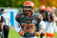 KELOWNA, BC - OCTOBER 6: Ethan Guilbault #39 of Okanagan Sun runs off the field against the VI Raiders at the Apple Bowl on October 6, 2019 in Kelowna, Canada. (Photo by Marissa Baecker/Shoot the Breeze)