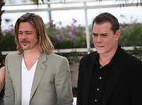 Dede Gardner, Brad Pitt and Ray Liotta at the Killing Them Softly photocall at the 65th Cannes Film Festival France. Tuesday 22nd May 2012 in Cannes Film Festival, France.