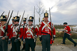 11 January 2015. New Orleans, Louisiana. <br /> Bicentennial reenactment of the Battle of New Orleans in Chalmette. <br /> British troops of the Royal Welsh Fusiliers prepare to re-enact their January 8th, 1815 disastrous battle against American foes marking the 200th anniversary of the Battle of New Orleans in Chalmette. Despite heavily outnumbering the Americans, the British suffered over 2,000 casualties, with many senior officers amongst the dead and injured compared to the Americans who suffered a mere 70 by comparison. The American victory was hailed as miracle.<br /> Photo; Charlie Varley/varleypix.com