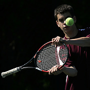Flushing, NY / 2009 - Scarsdale's David Goldberg swings at the ball in frustration during a doubles match against Commack High School during the boys varsity tennis state tournament at the USTA National Tennis Center in Flushing May 30, 2009. Goldberg and Gorobetz lost the match 6-3, 7-6, (8-6). ( Mike Roy / The Journal News )