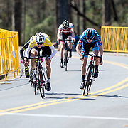 WOODSTOCK, VA - MAR 5: L-R: Gabriel Mendez of Holowesko-Citadel, Sean Quinn of LUX, Ben Wright, and Matteo Jorgenson, sprint to the finish line at the road race and final stage of the Tour of the Southern Highlands stage race on Sunday, Mar. 5, 2017 in Woodstock, Ga. Ben, exhausted from pulling the entire field back to the breakaway and then attacking the group on the last climb, finishes fourth, which earned him 3rd overall for the race. (Photo by Jay Westcott/The News & Advance)
