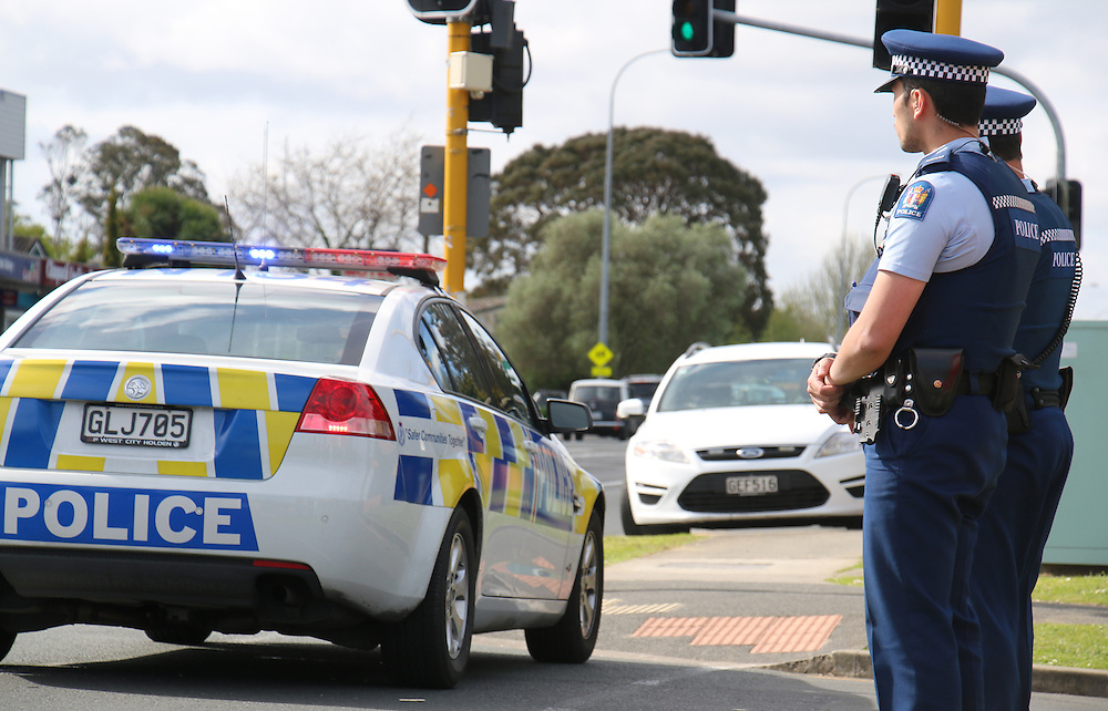 A man has been arrested after firing a shot at officers in a Police car outside the emergency department at the Waitakere Hospital, Auckland, New Zealand, Sunday, October 12, 2014. Credit:SNPA / Daniel Hines