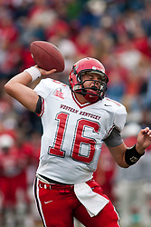 08 OCT 2005 WKU Hilltopper QB Justin Haddix lets it loose. The Illinois State University Redbirds roped and tied the Western Kentucky University Hilltoppers in regulation but loosened the noose in Overtime as the Hilltoppers take the honors with a 37 - 24 Victory in Gateway Conference action at Hancock Stadium on Illinois State's campus in Normal IL.