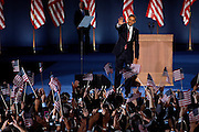 Chicago, Illinois, USA, 20081105:   Presidential Candidate Barack Obama holds his acceptance speech on Hutchinson Field in Grant Park in Chicago, after being elected the next President of the United States..Photo: Orjan F. Ellingvag/ Dagbladet/ Corbis