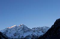 First Light on Maroon Bells, Maroon - Snowmass Wilderness, Colorado
