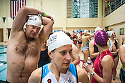 Andrew Stone (left) and Aimee Millnard (start) wait with other triathlon contestants for the start of the swimming portion of the Race for a Reason Triathlon. Photo by: Ross Brinkerhoff. Race for a Reason, Race 4 A Reason, Annual Events, Events, Students, Faculty & Staff