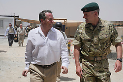 © London News Pictures. 17/06/11.  Dr Liam Fox (White Shirt) The Secretary of State for Defence, Dr Liam Fox visited Afghanistan to meet men and women of 3 Commando Brigade in Helmand Province today (15 Jun 11).  Dr Fox began his visit at Task Force Helmand in Lashkar Gah where he was met by the current Brigade commander, Brigadier Ed Davies. .Accompanied by the Chief of the General Staff, General Sir Peter Wall and the first Sealord Admiral Sir Mark Stanhope, the SoS travelled to a number of patrol bases within the province. Photo credit to read Alison Baskerville/LNP