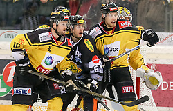 29.12.2016, Albert Schultz Halle, Wien, AUT, EBEL, UPC Vienna Capitals vs Dornbirner Eishockey Club, 37. Runde, im Bild Mac Gregor Sharp (UPC Vienna Capitals), Christopher D Alvise (Dornbirner Eishockey Club), Patrick Peter (UPC Vienna Capitals), David Kickert (UPC Vienna Capitals) // during the Erste Bank Icehockey League 37th round match between UPC Vienna Capitals and Dornbirner Eishockey Club at the Albert Schultz Halle in Vienna, Austria on 2016/12/29. EXPA Pictures © 2016, PhotoCredit: EXPA/ Alexander Forst