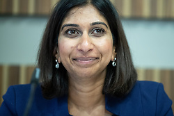"© Licensed to London News Pictures . 01/10/2018. Birmingham, UK. Suella Braverman MP Parliamentary Under Secretary of State for the Department for Exiting the EU . Prospect magazine fringe event titled "" Beyond tariffs where are our opportunities to boost trade post-Brexit "" , supported by Associated British Ports . Day 2 of the Conservative Party conference at the ICC in Birmingham . Photo credit: Joel Goodman/LNP"