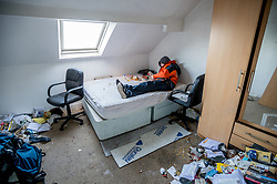 Mark receives no benefits and has spent over 6 month homeless. These photos were taken at an abandoned house he was squatting in. Sheffield UK