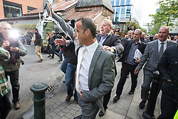 © Licensed to London News Pictures . 10/09/2013 . Manchester , UK . MICHAEL LE VELL (aka Michael Turner ) waves as he leaves Manchester Crown Court this afternoon (Tuesday 10th September 2013) after being cleared of all charges . The actor , who plays mechanic Kevin Webster in Coronation Street , was charged with a series of offences including rape , sexual activity with a child and indecent assault . Photo credit : Joel Goodman/LNP