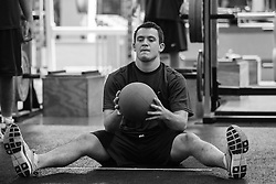 27 November 2007: North Carolina Tar Heels men's lacrosse Bobby McAuley during a weight lifting session in Chapel Hill, NC.